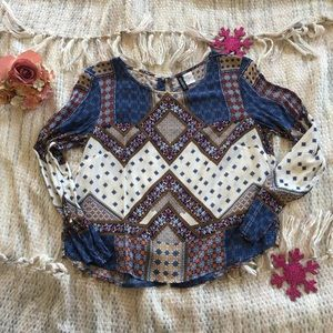 Pattern Blouse with Back Buttons